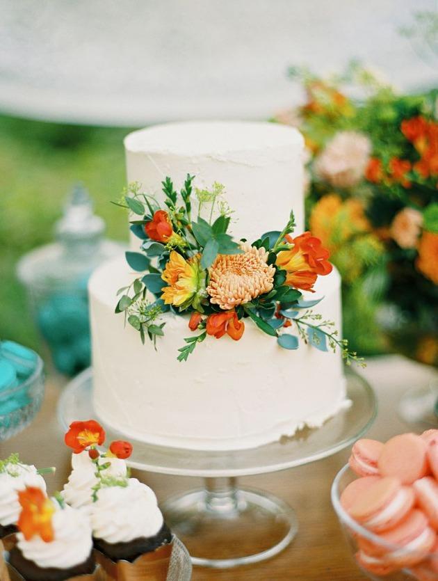 tarta flores naranjas
